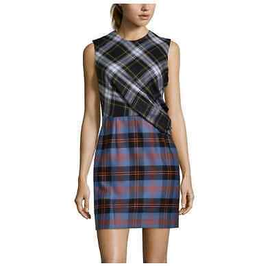 $905 NWT McQ Alexander McQueen Sleeveless Tartan Plaid Drape Mini Dress Sz 44