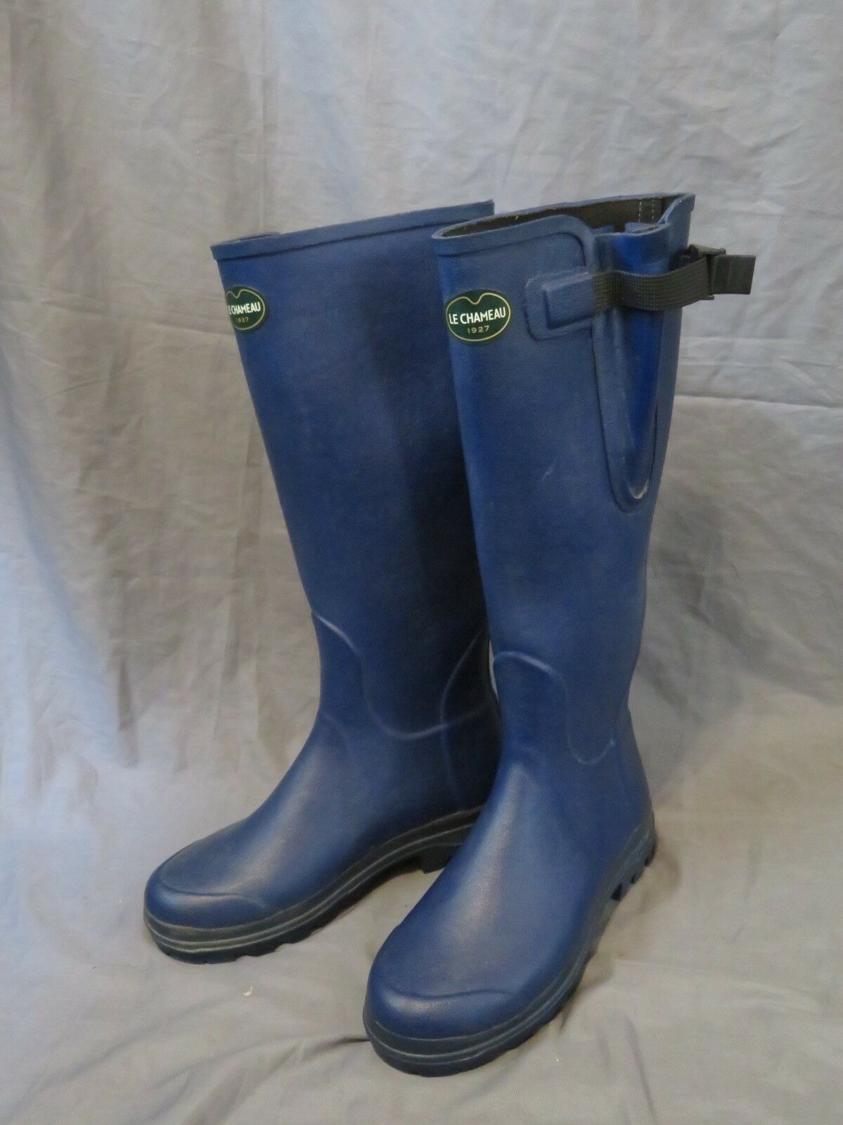 Women's Le Chameau 1927 Wellingtons Tall Blue Rubber Rain Boots Size 7 ()