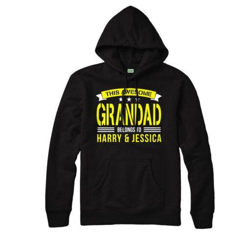 Awesome Grandad Belongs To Hoodie Top Custom Text Personalised Grandad Hoodie
