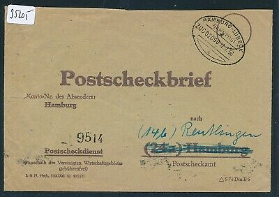 Hell 35205) Bahnpost Ovalstempel Hamburg - Lübeck Zug 2090, Ps-brief 1950