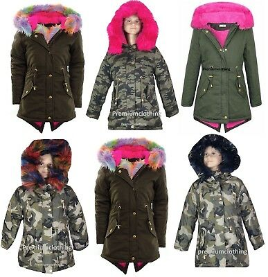 Ages 7-13 Girls Canvas Hooded Parka Coat Navy