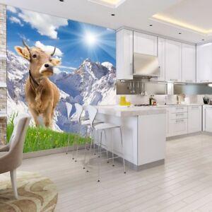 Details zu Weiße Berglandschaft Fototapete Braune Kuh Tapete Küche  Wohnkultur