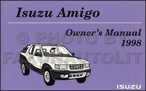 new 1998 isuzu amigo owners manual with extras original oem owner rh ebay com 2000 Isuzu Amigo 1993 Isuzu Amigo