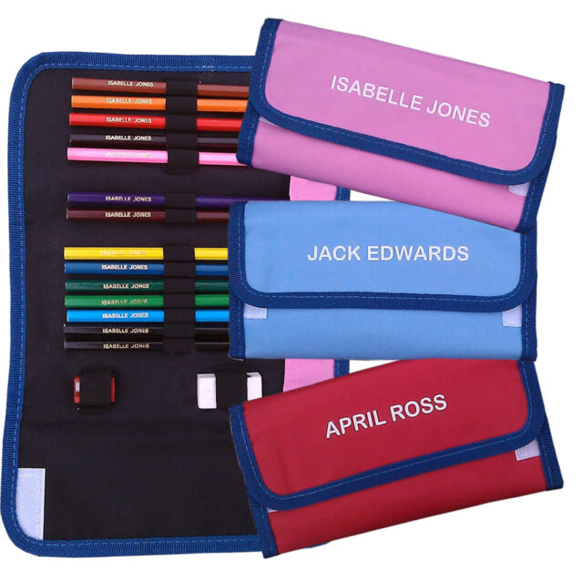 Personalised Colouring Pencils Set in  Pencilcase - Name on Pencils & Case!