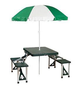 FOLDING OUTDOOR PICNIC TABLE UMBRELLA PLASTICMETAL SET PATIO - Metal base picnic table