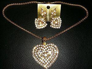 Jewelery-Set-Chain-Kundan-Heart-Shape-Shiny-Pendant-Earrings-Golden-Coloured