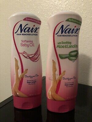 2 Pack Nair Hair Remover Lotion Baby Oil Aloe Lanolin For