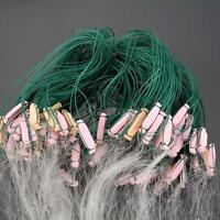25m 3layers Monofilament Fishing Fish Gill Net With Float Clear Green White S9j6