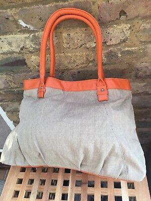 Beach Shoulder Bag Brand New Beautiful Orange Faux /& Hessian Fabric RRP £35