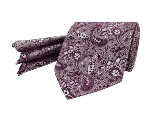 Hommes Cravate Mariage Mouchoir Prune Berry Paisley Floral Soie Set