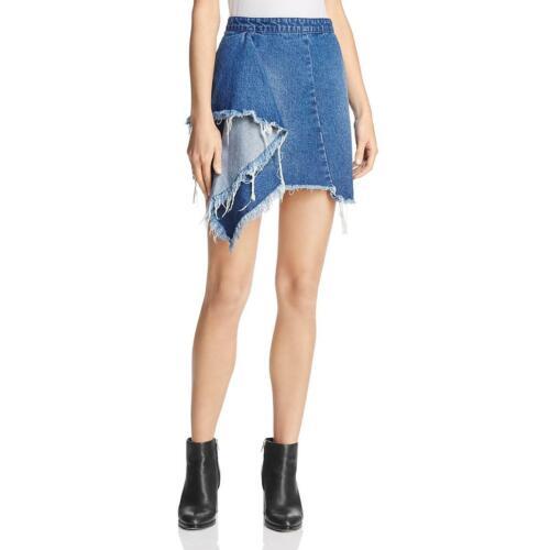 Blank NYC Womens Distressed Draped Frayed Asymmetrical Skirt BHFO 9140