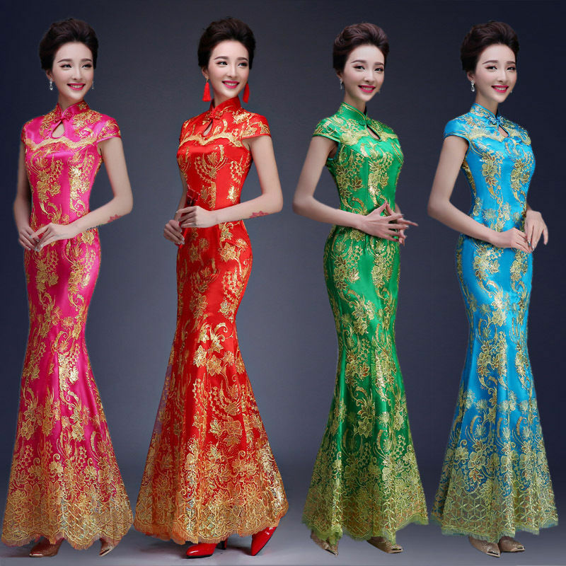 Mermaid cheongsam robe formelle de bal soirée Pageant robe robe de bal Y028E