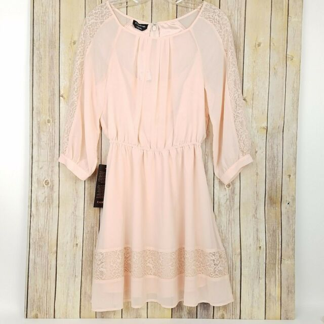BEBE Womens Girly Floral Flowy Layered A Line Dress Peach 3/4 Sleeves NEW size S