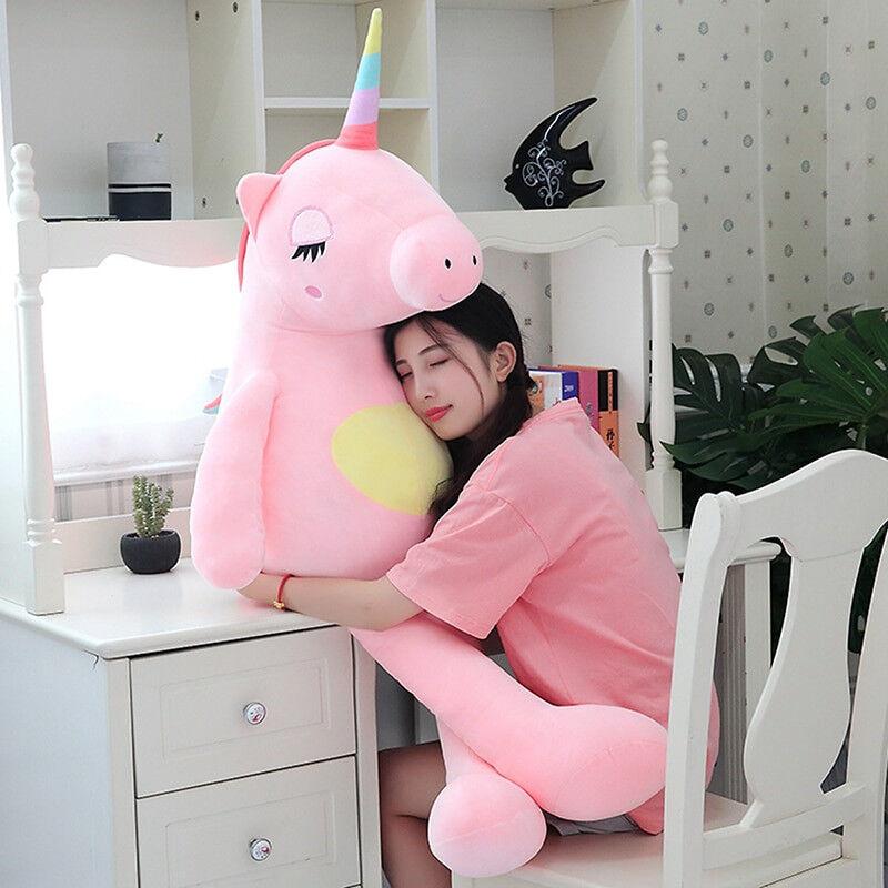 LARGE Unicorn Plush 140cm Life Größe Soft Stuffed Teddy Bear Animal Rainbow Cute