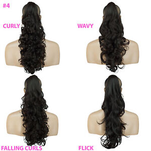 PONYTAIL-Clip-In-On-Hair-Extensions-Dark-Brown-4-REVERSIBLE-4-Styles-Claw-Clip