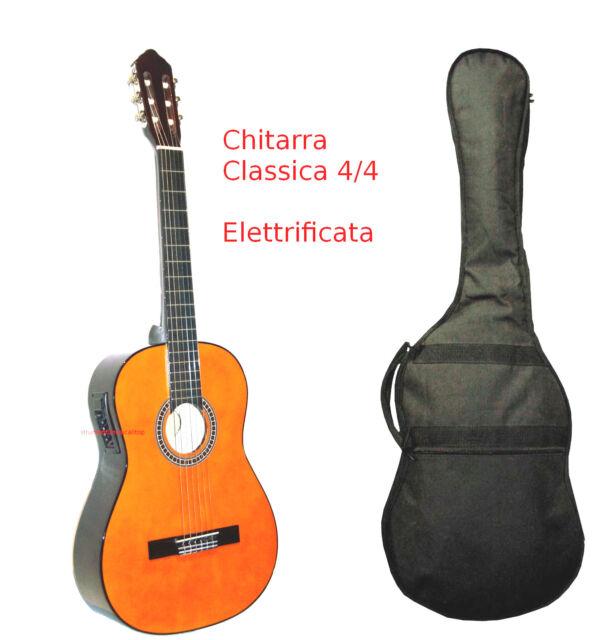 CHITARRA CLASSICA AMPLIFICATA 4/4 Natural Elettrificata 4bande con Custodia