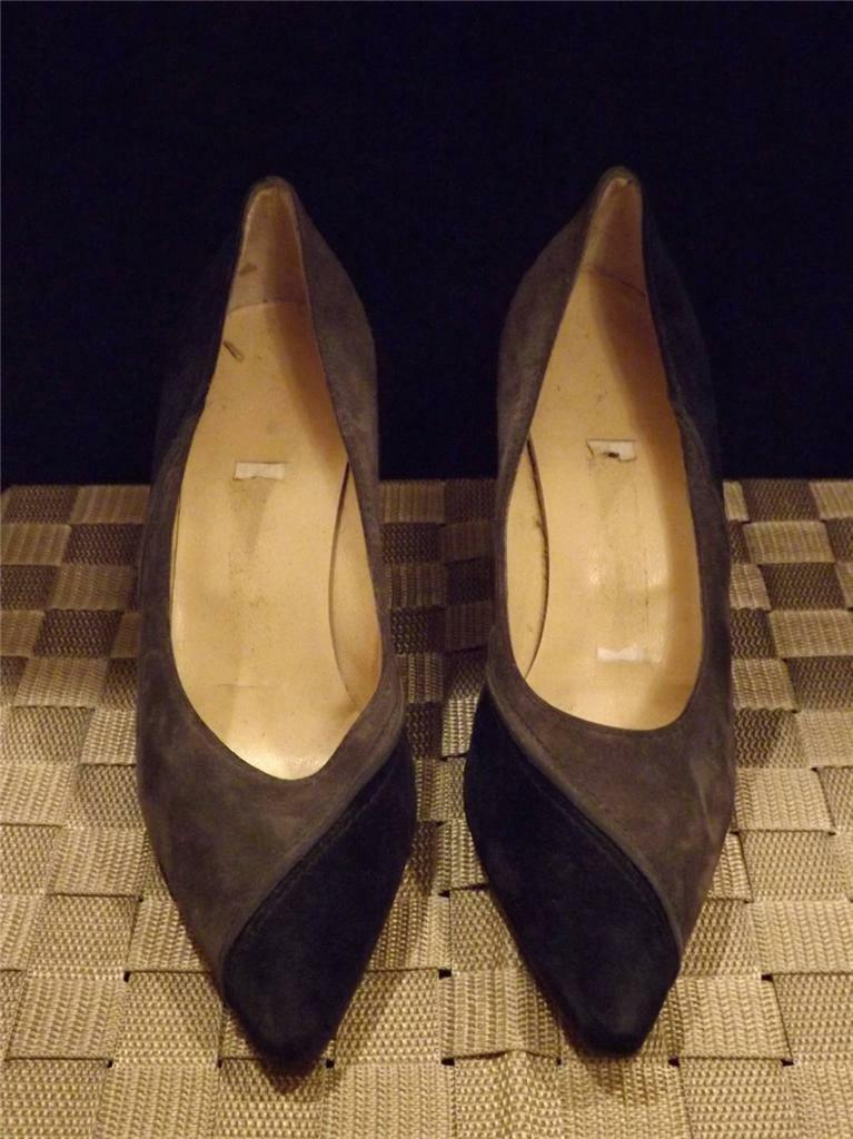 Manolo Blahnik Grau Blau Wildleder Hign Absatz Pumps Sz 37 7 Laden Display BB