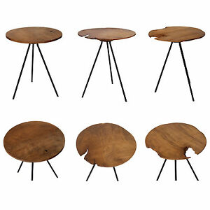 Side-Table-from-Teakwood-With-Metal-Frame-Table-Top-Round-Sofa-Table-Teak