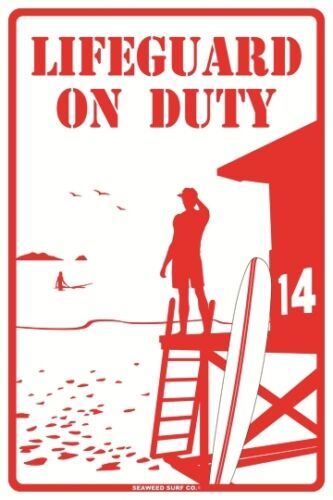 Lifeguard On Duty Red Aluminum Metal Beach Pool Road Sign Wall Decor