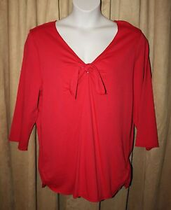 NEW-Womans-NEW-Red-3-4-Sleeve-Tie-Front-Top-Blouse-Sizes-1X-2X-or-3X-NWOT