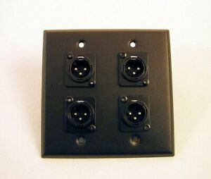 Brand-New-Genuine-ProCraft-SS-2-Gang-Black-Plate-Four-Male-XLR-039-s-Mic-Outputs
