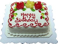 Dollhouse Miniature Happy Birthday Cake by Bright deLights