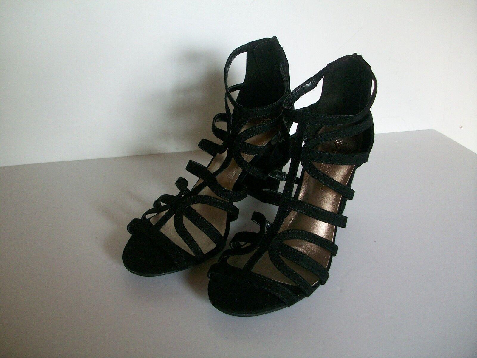 Noir en Cuir et Daim Daim Daim stappy chaussures, taille 7.5 Large Fit, Marks & Spencer, Bnwt b0b66b