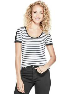 GUESS-Factory-Women-039-s-Nico-Striped-Cutout-Scoop-Neck-Short-Sleeve-Tee