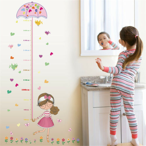 girl umbrella measure height wall stickers pvc mural kids room decor UWUK