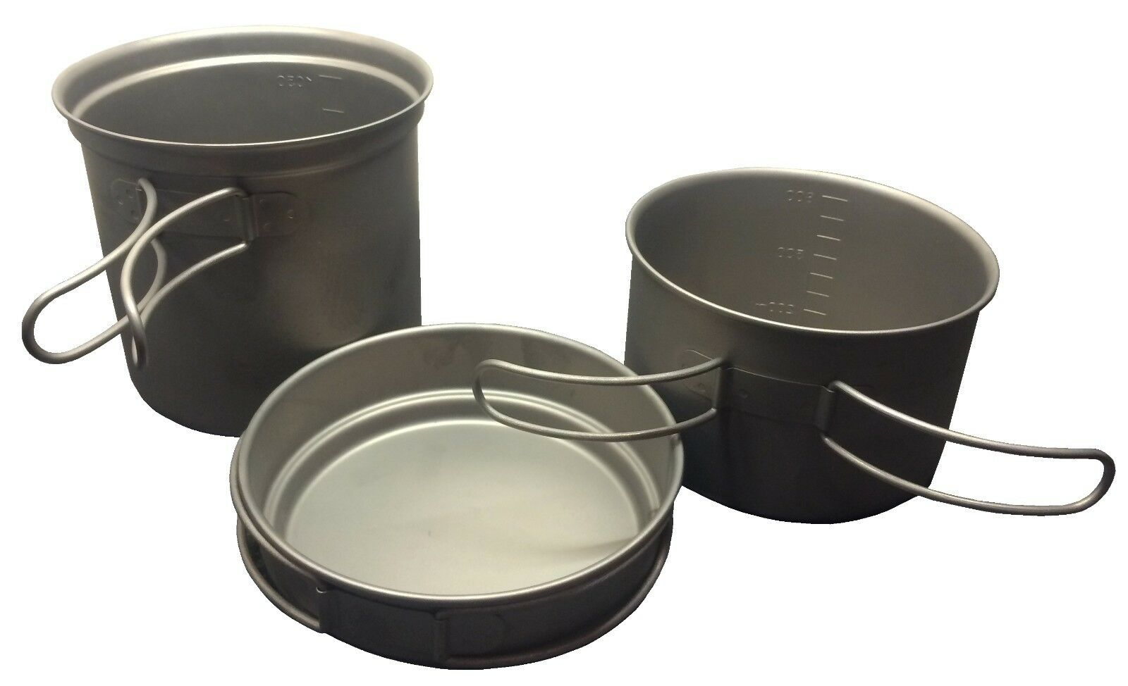 3 pc TITANIUM PANS POTS  with SS HANDLES very large camping hiking