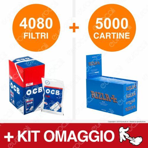 4080 Filtri OCB Slim 6mm 5000 Cartine Rizla Corte Blu Libretti Per Tabacco Kit