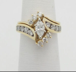 2CT-Marquise-Cut-Diamond-Wedding-Engagement-Bridal-Ring-Set-14K-Yellow-Gold-Over