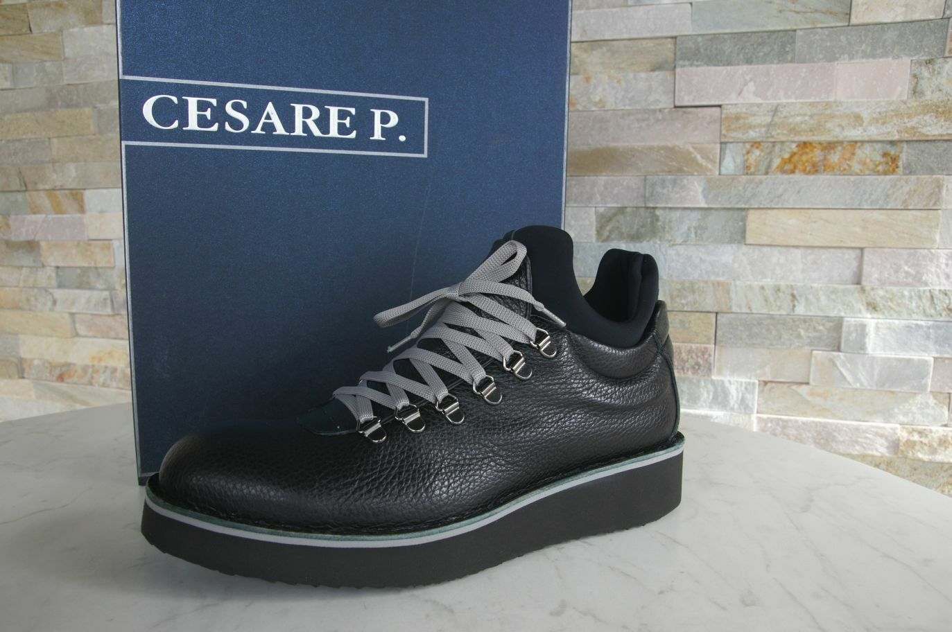 Cesare P.Size 6 40 Ankle Boots Lace up shoes Black New Previously