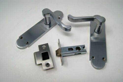 8 Pairs Scroll Satin Chrome Door Handle on 168mm x 42mm LATCH Backplate