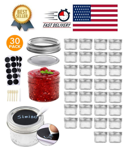 30-Pack-Mason-Jars-4Oz-Small-Canning-Lids-Bands-Mini-Wide-Mouth-For-Jam-Baby-Hon