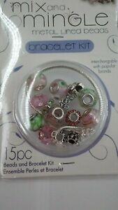 Darice Mix & Mingle MOM Bracelet Kit Metal Lined Beads Jewelry Maker Starter Kit