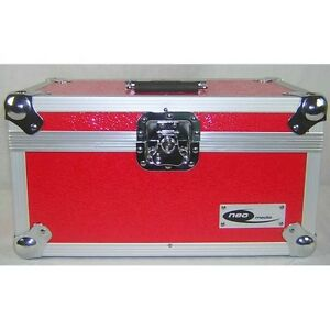 Neo Red 7 Inch Vinyl Record Lp Dj Storage Case 200 Capacity With