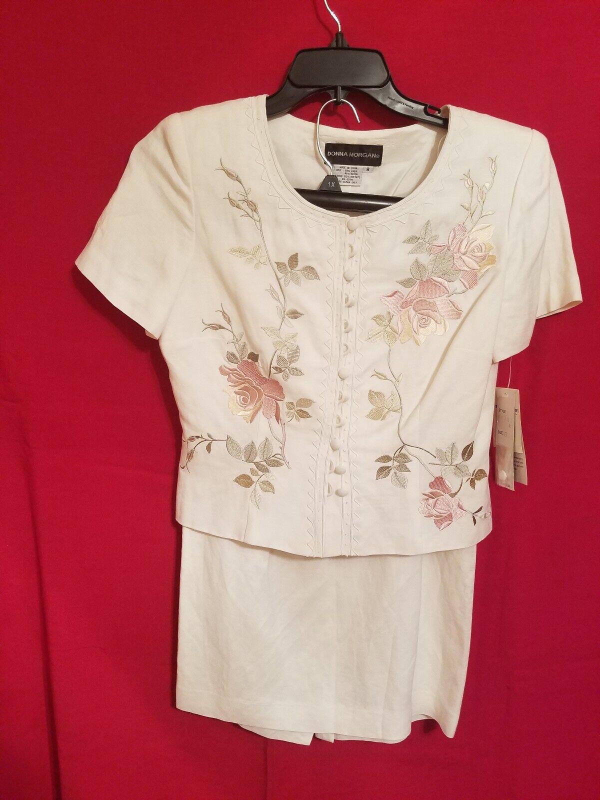 NWT,women MORGAN Petite Beige Silk 2-Piece Skirt Suit-Size 8