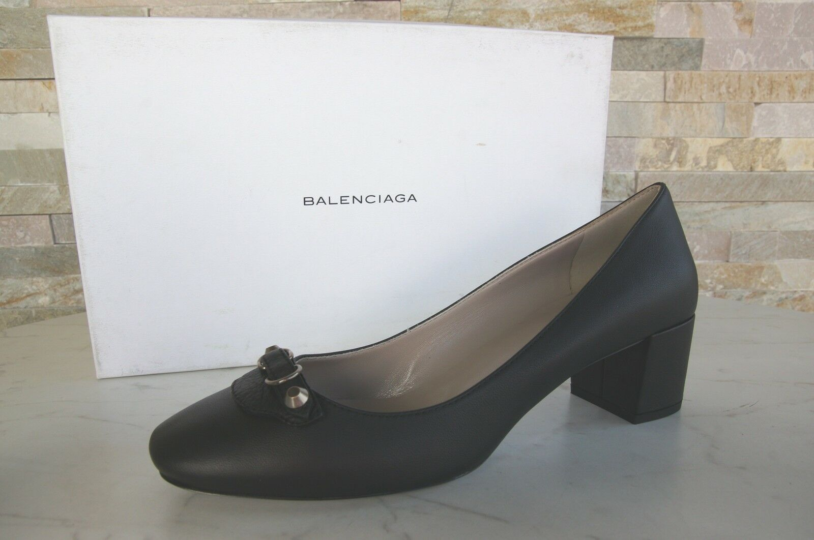 Luxus BALENCIAGA Gr 41 Pumps Halbschuhe Slipper Schuhe schwarz neu ehem