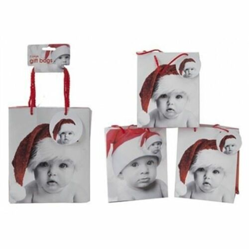 3 Pack Christmas Gift Bags Festive Bag Wrapping Christmas Packaging 23x19cm