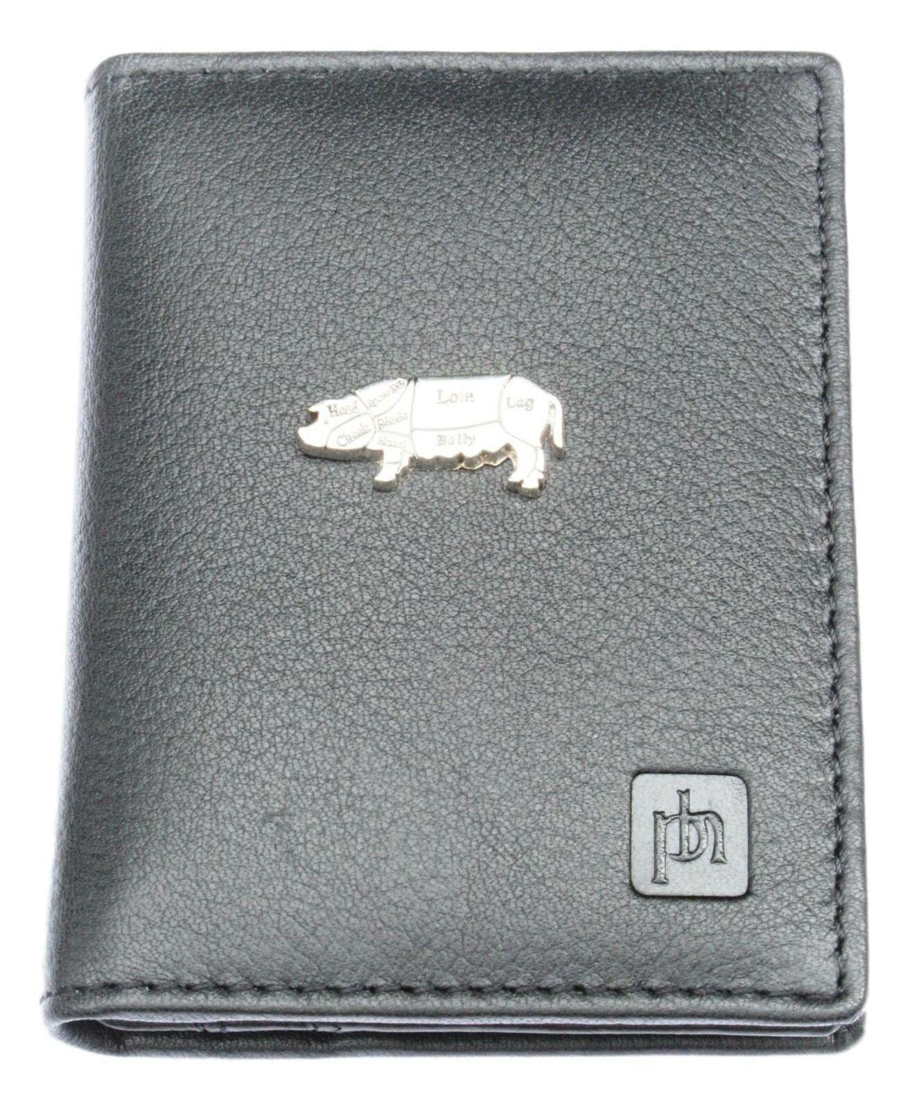 Butcher Pig Bifold Card Holder Leather Black Wallet RFID Safe 49