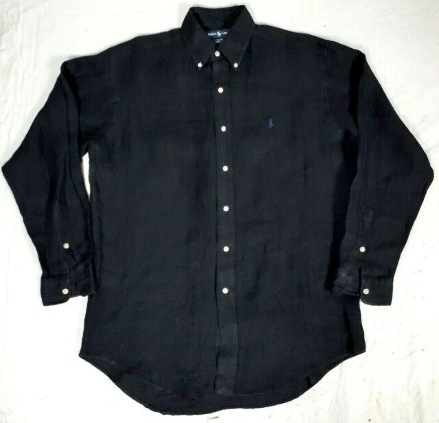#237 RALPH LAUREN Blake Long Sleeve Black 100% Linen Shirt Mens Small