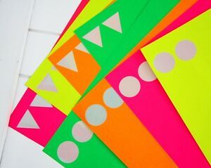 NEON-STICKERS-by-the-sheet-circle-or-triangle-pink-orange-yellow-or-green