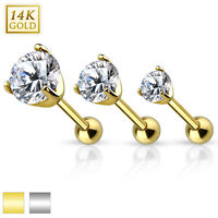 Gold Cartilage Barbell With Prong Set Cz Top