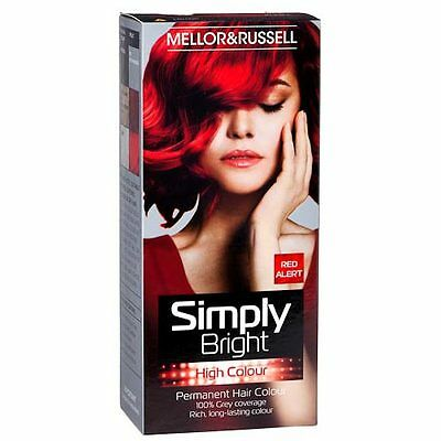 HAIR COLOUR PERMANENT SIMPLY BRIGHT RED HAIR DYE 100% GREY COVERAGE NEW!