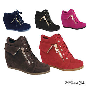 c9e1ad66e104 Kids Youth Girls Toddler Wedge Sneaker High Top Shoes Black Brown ...
