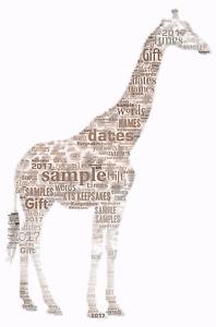 word art personalised gift present keepsake Giraffe Birthday mum auntie sister