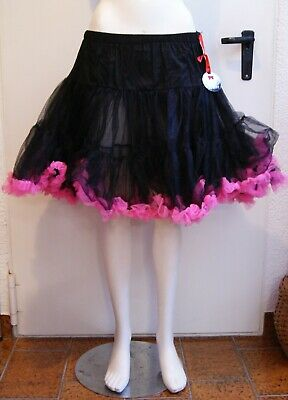 Collection Here Pitticoat Unterrock - Tüllrock, Tütü, 50er, 60er Schwarz-pink Gr. Xs-m - Neu At Any Cost