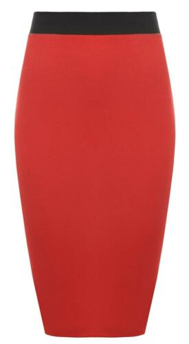 Womens Ladies Elasticated Waistband Plain Stretchy Pencil Bodycon Midi Skirt