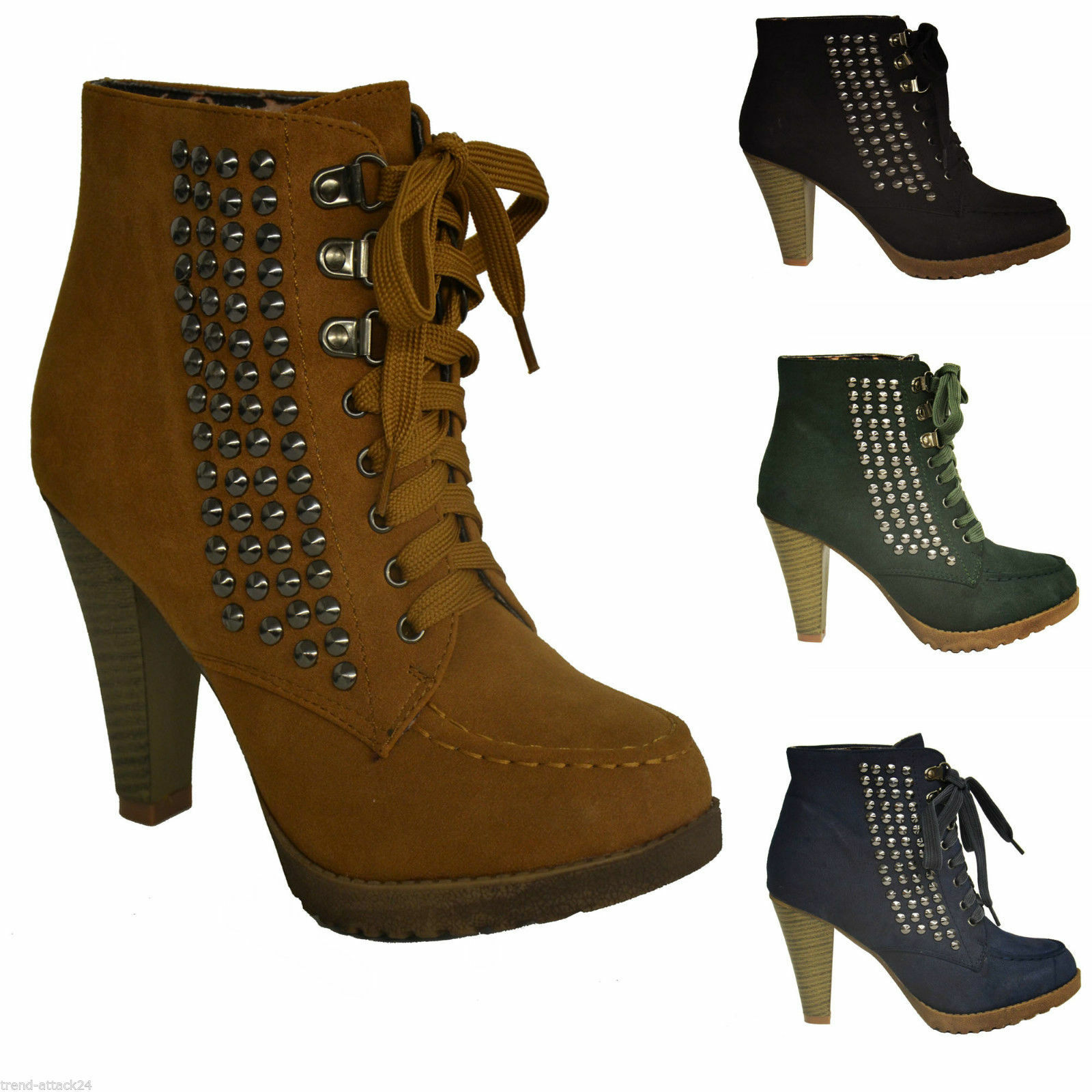 Ankle Platform Boots Court shoes Studs Platelets Spikes Suede Look